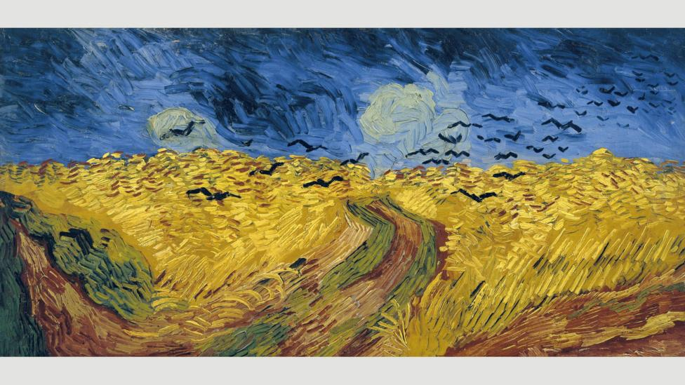 Wheatfield with Crows, also from July 1890, features a similarly agitated technique – but the atmosphere is darker, more foreboding (Credit: Van Gogh)
