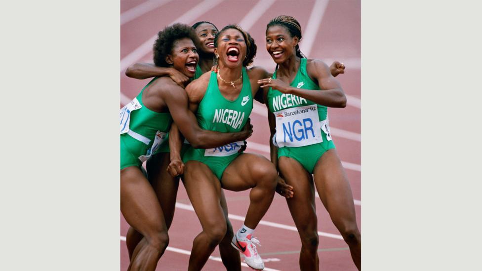 Nigerian Relay Team, 1992 Barcelona Olympics (Credit: Ken Geiger/The Dallas Morning News)