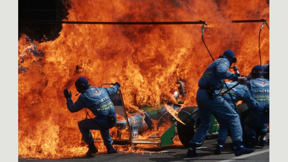 Fire Incident in Hockenheim, German F1 Grand Prix, July 31, 1994 (Credit: Arthur Thill)