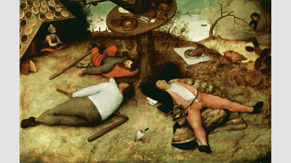 The Land of Cockaygne, as imagined by Pieter Brueghel, was a land of fun and equality – and no work