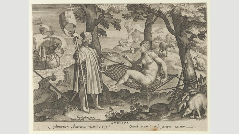 More was influenced by Amerigo Vespucci's tales of non-capitalist communities in the New World, as shown in this 1600 print (Credit: The Elisha Whittelsey Collection)
