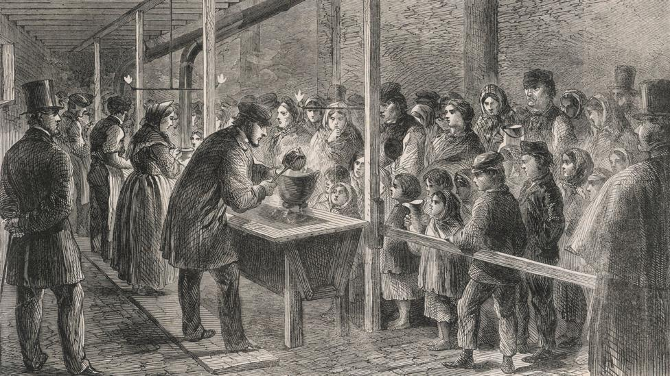 The Quaker movement emphasised the importance of charity, as shown in this 1862 illustration of a Quaker soup kitchen in Manchester (Credit: Mary Evans Picture Library/Alamy)