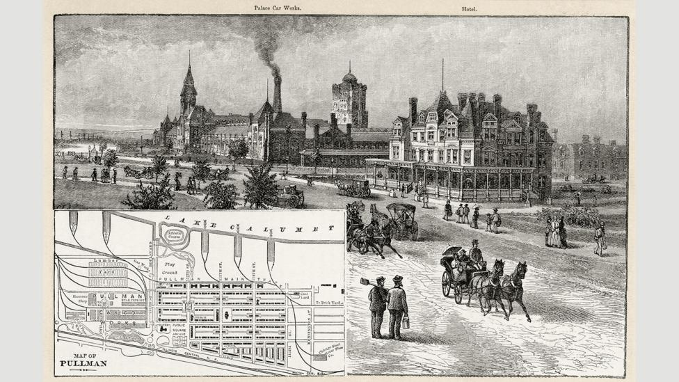 An 1885 engraving of the 'model village' of Pullman, Illinois, which was planned according to 'scientific principles' (Credit: Granger Historical Picture Archive/Alamy)