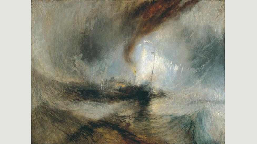 The title of this 1842 painting by JMW Turner is like a breathless shipping forecast: it is usually just called Snow Storm – Steam Boat off a Harbour's Mouth (Credit: Wikimedia)