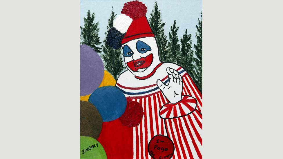 Serial killer John Wayne Gacy dressed as 'Pogo the clown' at children's parties: this is one of the paintings he made while on death row (Credit: Alamy)