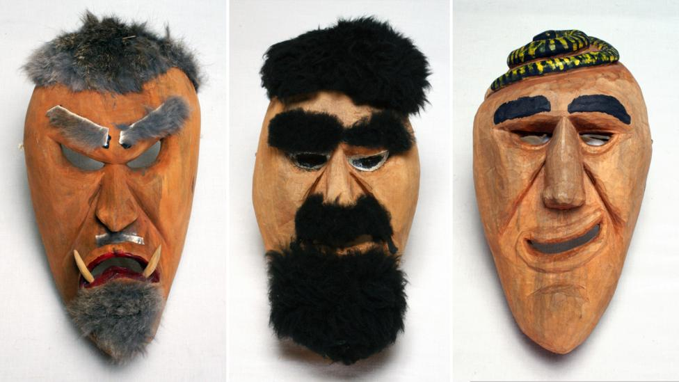 Booger masks of the Cherokee people of North Carolina are worn to represent outsiders during the performance of a ritual dance (Credit: Mathers Museum of World Cultures/Flickr)
