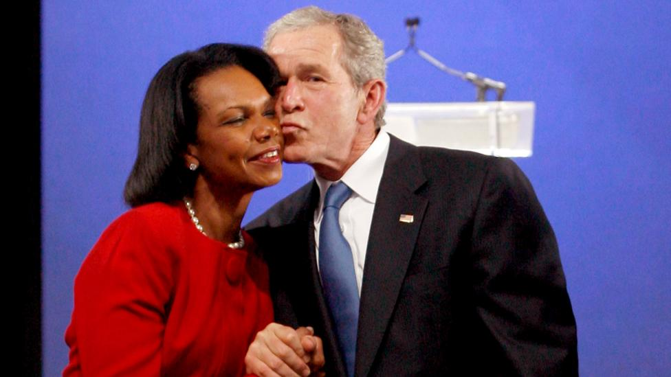Even former US President George W. Bush and former Secretary of State Condoleezza Rice were said to have had a 'work spouse' relationship (Credit: Getty Images)