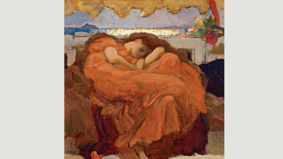 The model for Flaming June was most probably the actress Dorothy Dene, whom Leighton met in 1879 (Credit: Private Collection. Image courtesy of Gallery 19C)