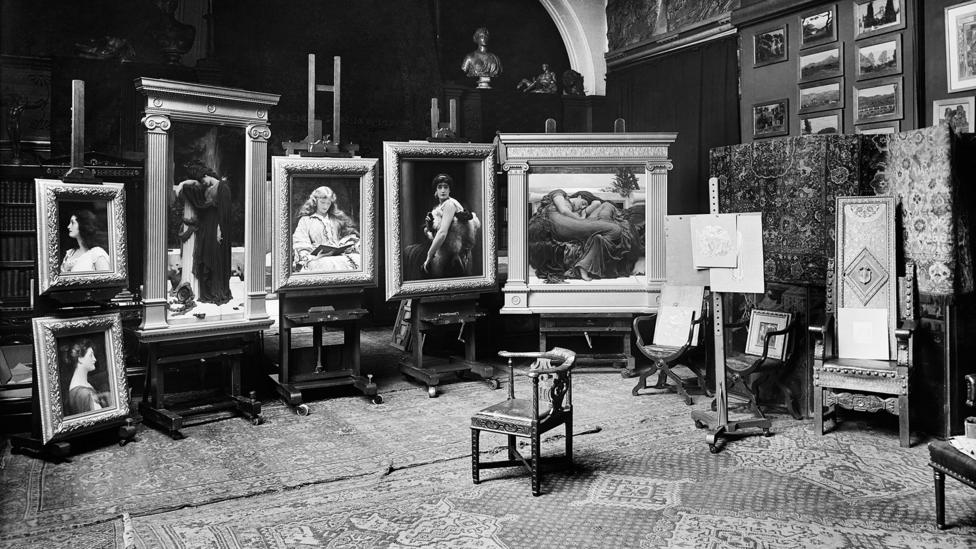 A photograph taken in 1895 shows Flaming June in its distinctive frame in Leighton's studio (Credit: Historic England Archive. Image Courtesy of Leighton House Museum)
