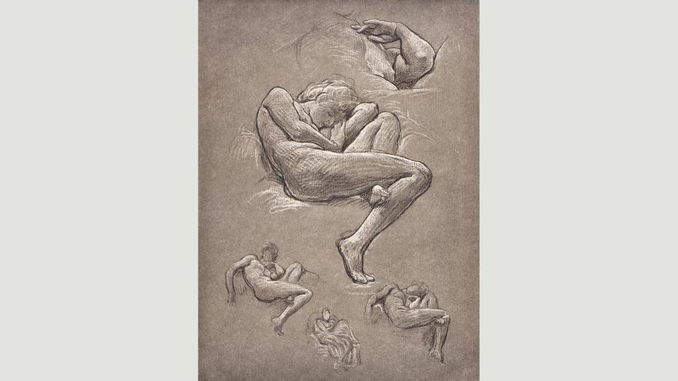 Several beautiful black-and-white chalk drawings show Leighton's workings (Credit: Leighton House Museum)