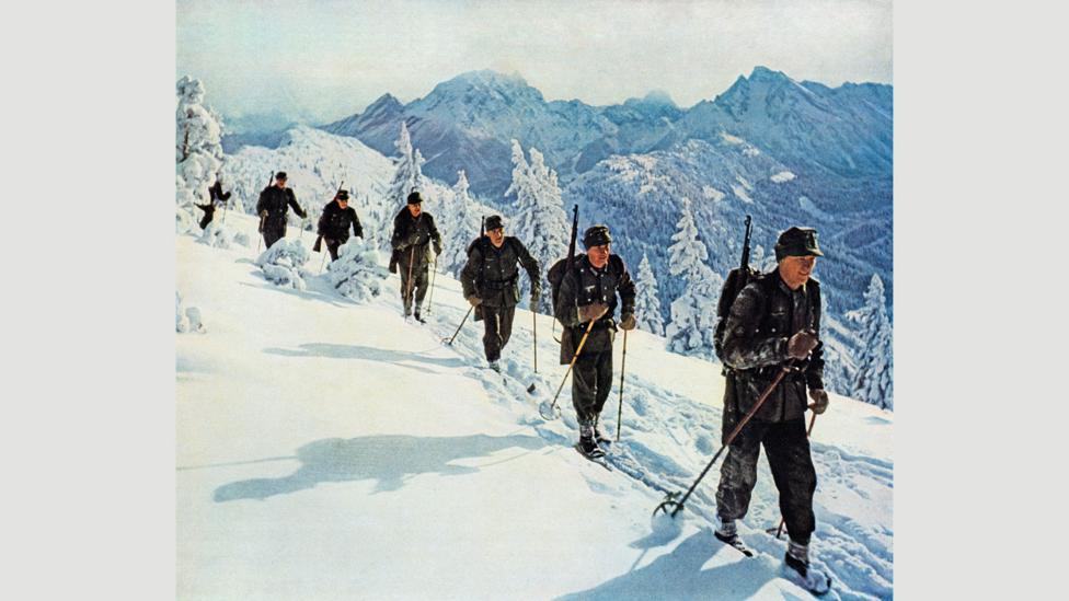 Germany's Wehrmacht Mountain Troops traverse the Norwegian mountains on cross-country skis in 1941 (Credit: Alamy)