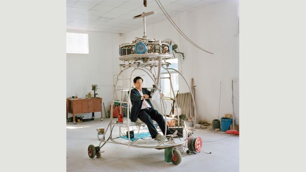 After the 2008 Sichuan earthquake, Zhang aimed to build a helicopter that could fly among trees: his latest, with four aeromotors, is still in its test phase (Credit: Xiaoxiao Xu)