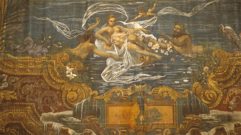 The stage curtain, illustrated by Brazilian painter Crispim do Amaral, depicts the goddess Iara amid the 'meeting of the waters' (Credit: Alamy)