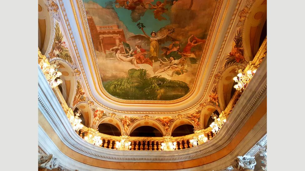 The ballroom's ceiling features The Glorification of the Arts, a painting in which gods and goddesses bestow their gifts from above (Credit: Benjamin Ramm/Emma Bridget Byrne)