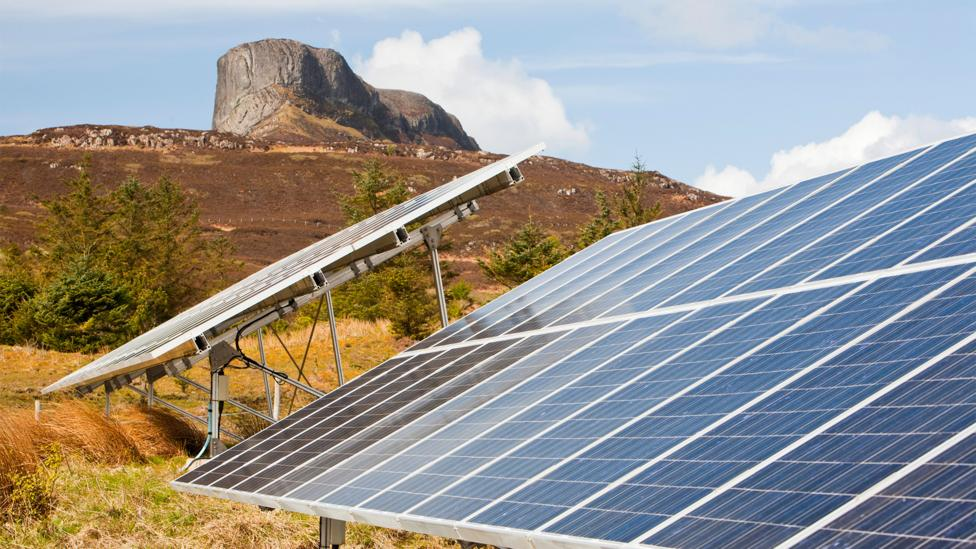 Solar panels provide a boost to Eigg's other sources of power, particularly during the long summer days (Credit: Alamy)