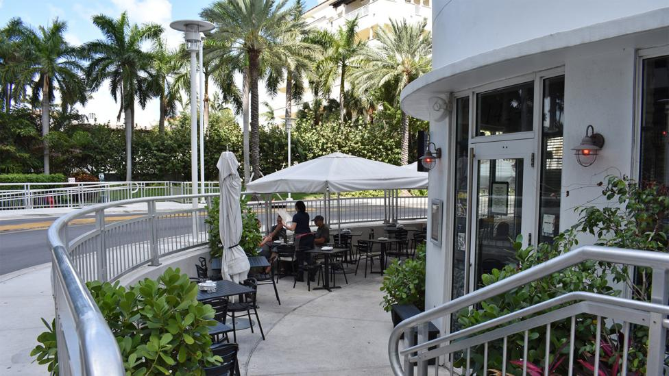 When Miami Beach raised its roads, a number of businesses, like the restaurant shown here, found themselves below street level (Credit: Amanda Ruggeri)