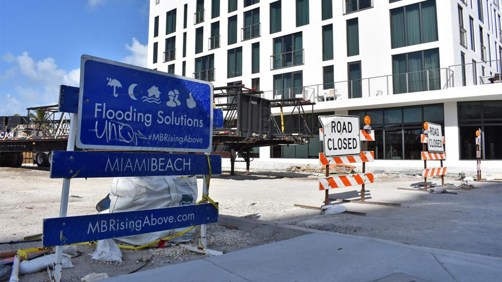 Signs like these have become ubiquitous in Miami Beach, where officials are determined to fight flooding and have launched a multi-pronged plan (Credit: Amanda Ruggeri)