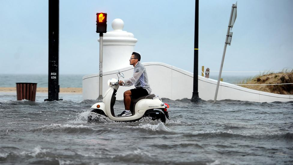 Florida State Road A1A runs the entire length of Florida along the ocean, making it vulnerable to flooding – as shown here in Fort Lauderdale in 2013 (Credit: Alamy)