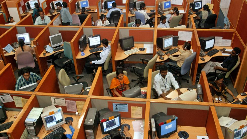 International companies have long outsourced IT tasks to call centres in India to save money - but now those human centres may be replaced by robots (Credit: Alamy Stock Photo)