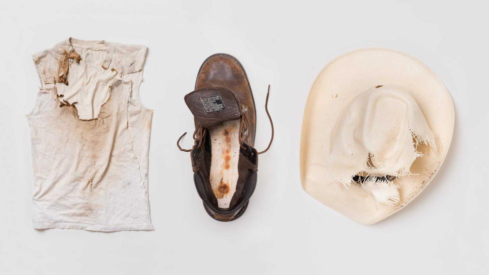 Hat and shirt worn by Jaime Santana and boots worn by Justin Gauger when they were struck by lightning (Credit: William LeGoullon)