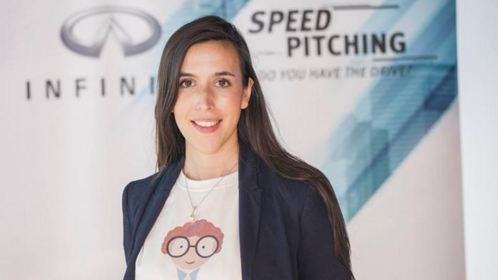 Thea Myhrvold, a 27-year-old entrepreneur based in Dubai, won $40,000 by pitching in the backseat of a speeding car (Credit: INFINITI Speed Pitching)