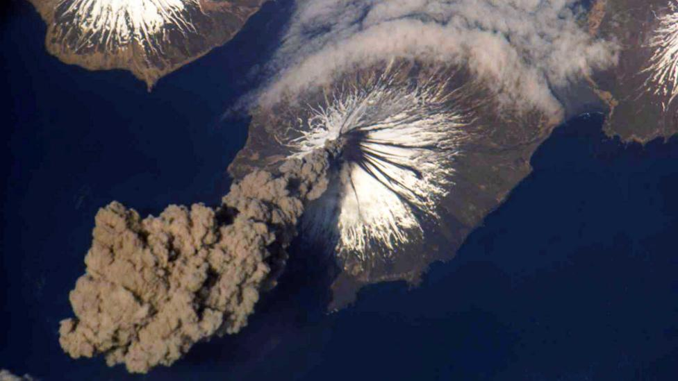 Astronauts on the International Space Station get a striking view when a volcano erupts (Credit: Nasa/Getty Images)