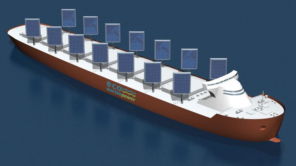 In the 21st Century, oceans are overrun with fossil fuel-spewing cargo ships, exacerbating climate change. But the ships of the future could run on sun (Credit: Eco Marine Power)