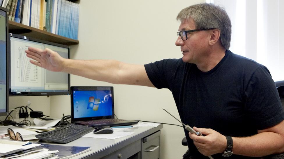 Vladimir Romanovsky in the Permafrost Laboratory at the University of Alaska in Fairbanks (Credit: Anthony Rhoades)