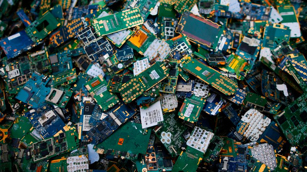 These discarded electrical components were extracted of their rare and precious metals in a plant in France (Credit: Getty)