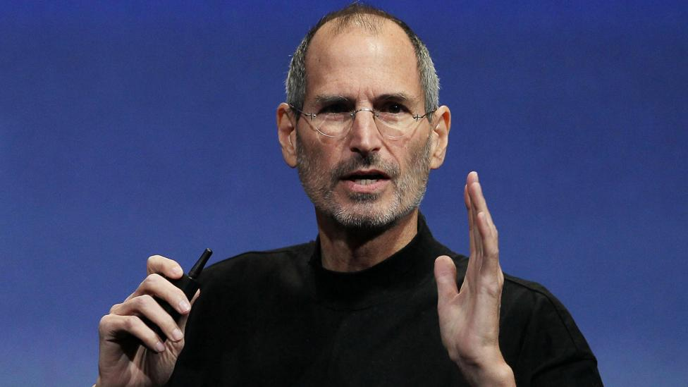 Steve Jobs in 2010, employing many of the verbal tricks and gestures needed to inspire followers (Credit: Getty Images)