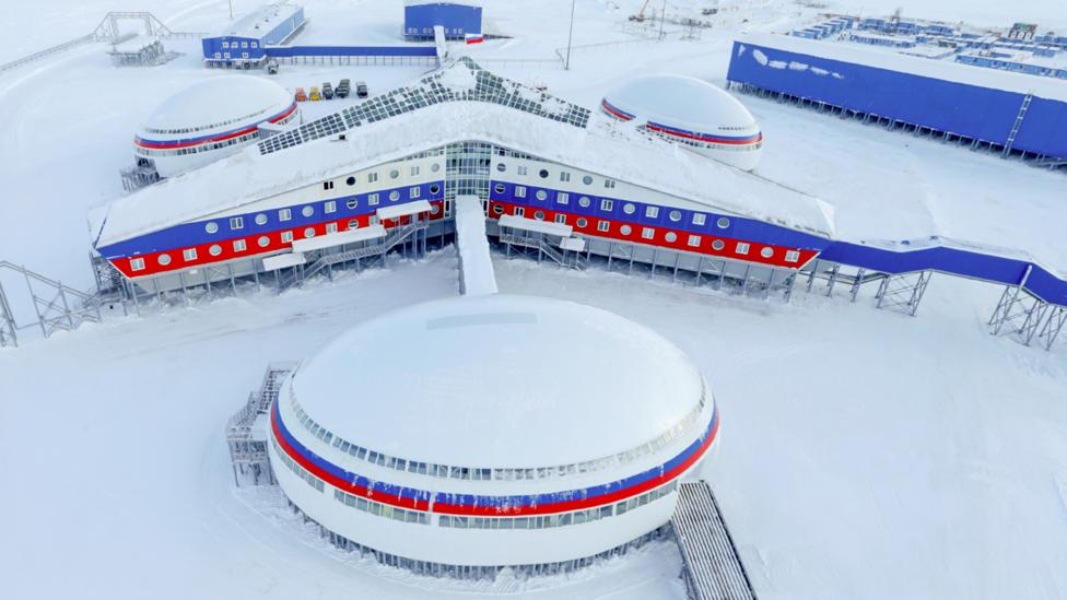The Arktichesky Trilistnik military base opened to press in April: it includes living quarters, garages for military and special vehicles and more (Credit: Getty)
