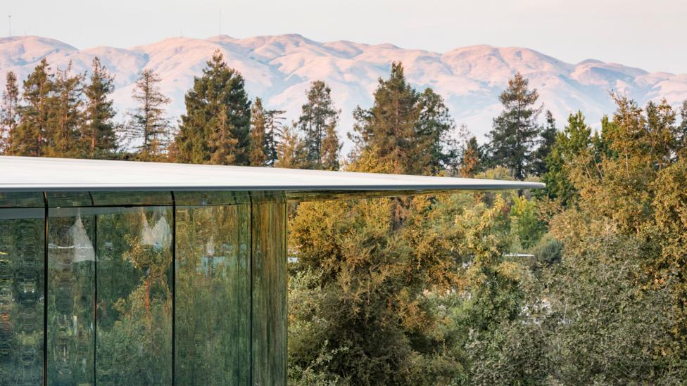 The Steve Jobs Theater is located at the highest point of the Apple Campus and is a central gathering place for staff (Credit: Nigel Young/ Foster + Partners)