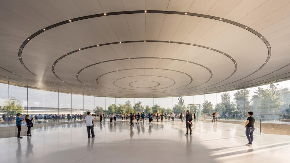 The Steve Jobs Theater acts as a shrine at the Apple Campus temple to tech, designed by Foster + Partners (Credit: Nigel Young/ Foster + Partners)