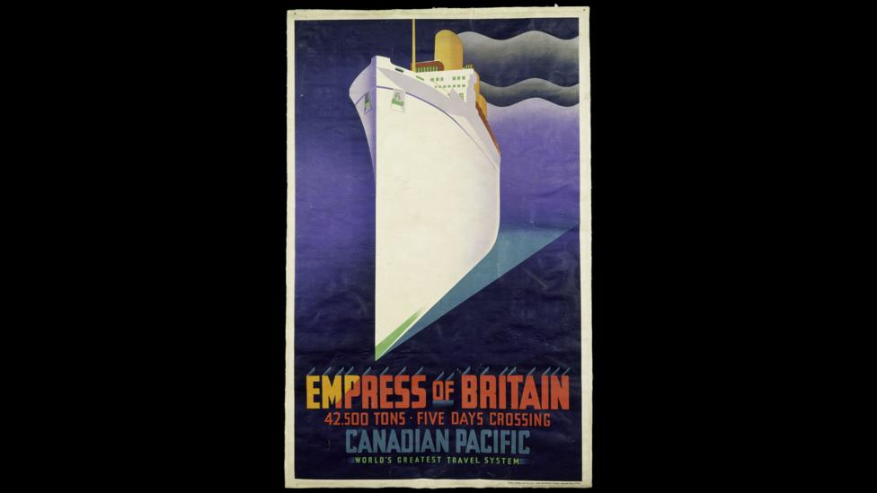 The Empress of Britain lithograph poster encapsulates the ocean liner's sense of grandeur, style and speed (Credit: Victoria and Albert Museum, London)