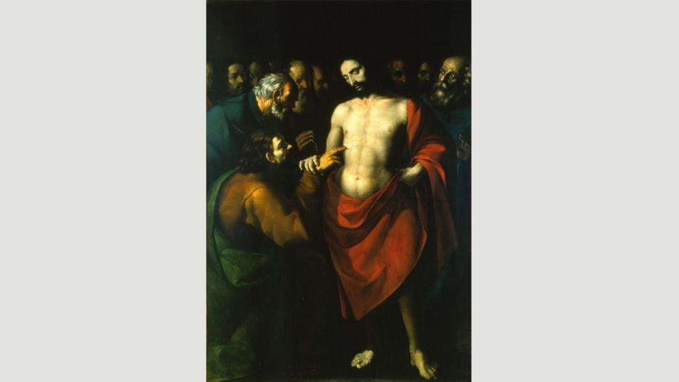 In López de Arteaga's undated work The Incredulity of Saint Thomas, the red smock worn by Christ, denoting his holiness, pops off the canvas (Credit: Wikimedia)