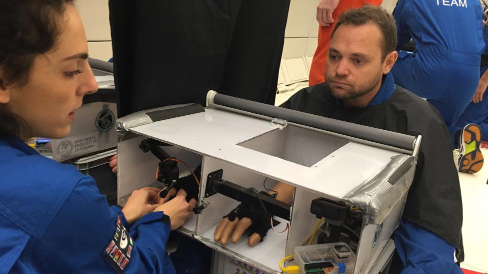Scientists test if microgravity has any effect on the 'rubber hand illusion' (Credit: Esa)