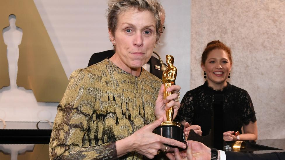 At the Governors Ball party following the 2018 Academy Awards a man walked off with Frances McDormand's best actress Oscar – it was quickly recovered (Credit: Getty)