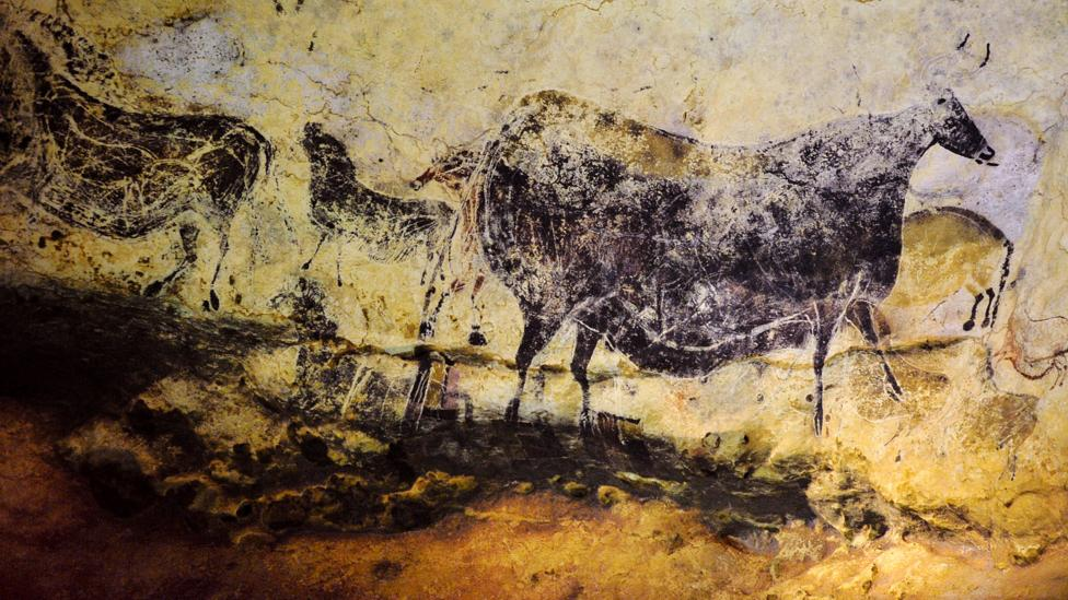 The Lascaux Cave, near the village of Montignac in southwest France, contains paintings estimated to be 16,000 years old – rendered using black pigment (Credit: Getty Images)