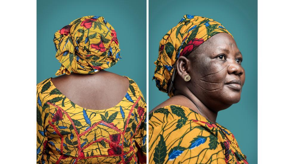 Joana Choumali's series Hââbré shows migrants from Nigeria and Burkina Faso with scarified faces: shown, Mme Djeneba Hââbré (Credit: Joana Choumali/50 Golborne Gallery)