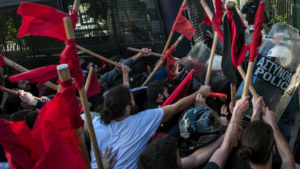 Tough austerity measures in Greece have seen funding to higher education slashed sparking a series of protests (Credit: Getty Images)