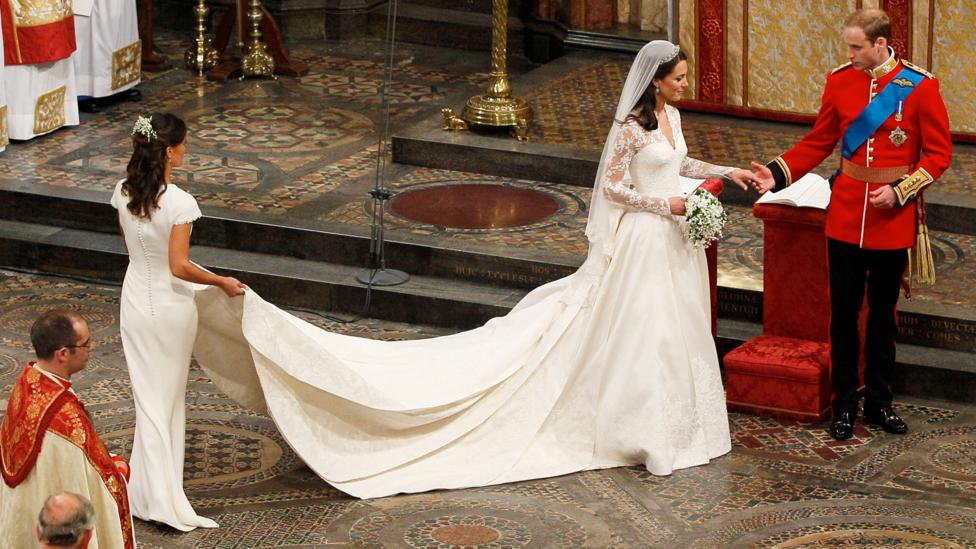 The Duchess of Cambridge wore a bridal gown by Sarah Burton for Alexander McQueen (Credit: Getty Images)