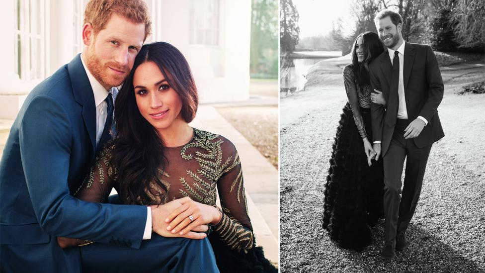 For the official engagement portraits Meghan Markle wore a gown by design duo Ralph & Russo – said to be a likely choice of designer for the big day (Credit: Getty Images)
