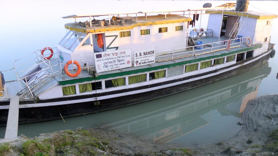 Today, 15 'hospital boats' like this one provide medical access to the sapori people (Credit: Jules Montague)