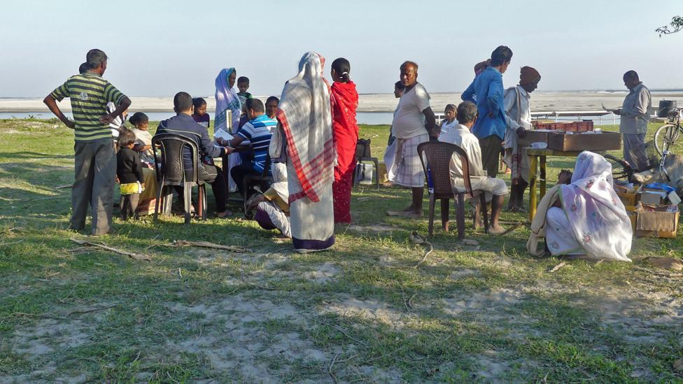 The islanders come to receive care from the medics (Credit: Jules Montague)