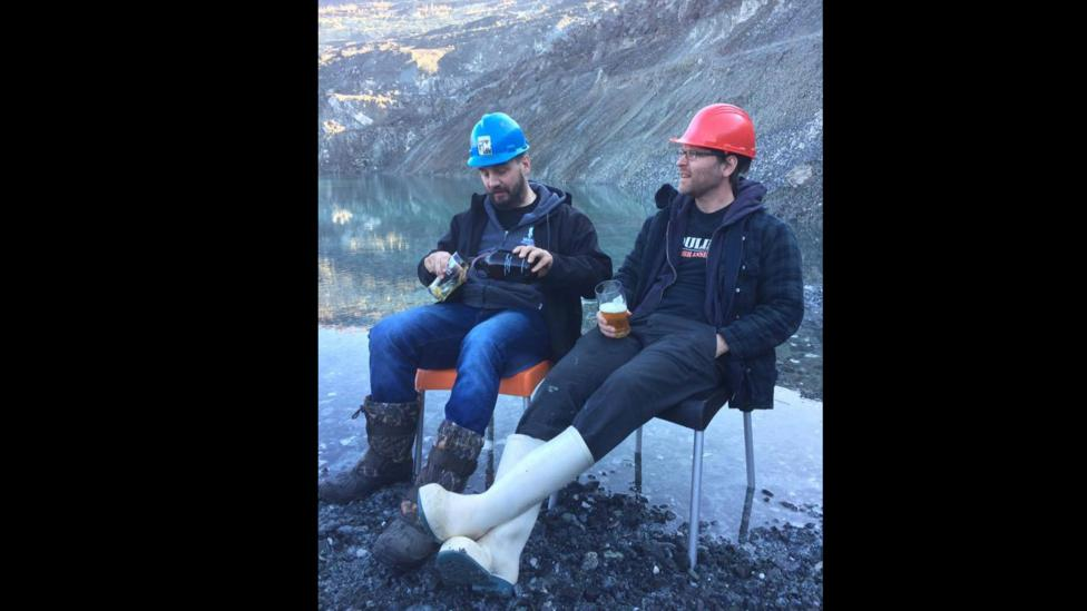 Yan St-Hilaire (left) and Danick Pellerin (right) founded a successful microbrewery just a few yards from the edge of the disused mine in Asbestos (Credit: Moulin 7)