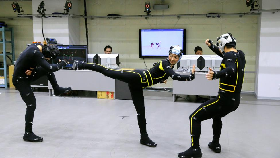 More video game voice actors will be physically moving using motion capture technology, like in this studio for Japanese game developer Capcom (Credit: Getty Images)