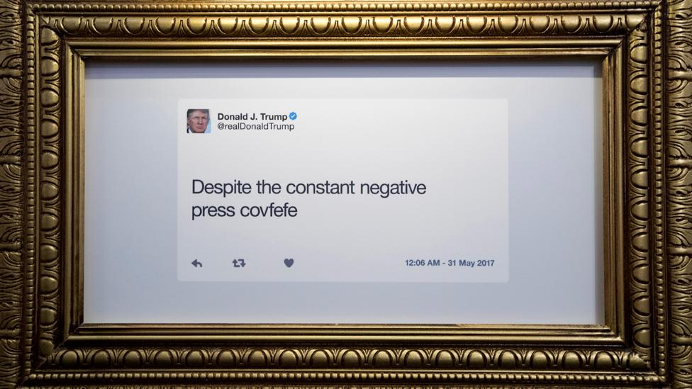 In 2017 Daily Show host Trevor Noah opened The Donald J Trump Presidential Twitter Library in New York, which displayed Trump's tweets for a few days (Credit: Getty Images)