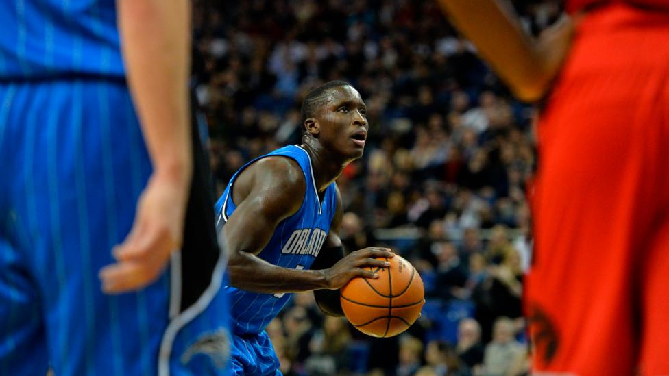 Victor Oladipo takes a free throw at an NBA Global game in London. The quiet eye seems particularly important during high-pressure moments (Credit: Glyn Kirk/AFP/Getty Images)