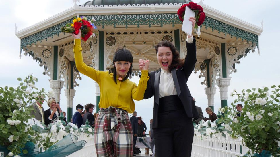 The wedding in 2015 at Brighton bandstand of Abbie Lockyer and Ciara Green, who donated their wedding outfits to the exhibition (Credit: Sighle Breathnach-Cashell)