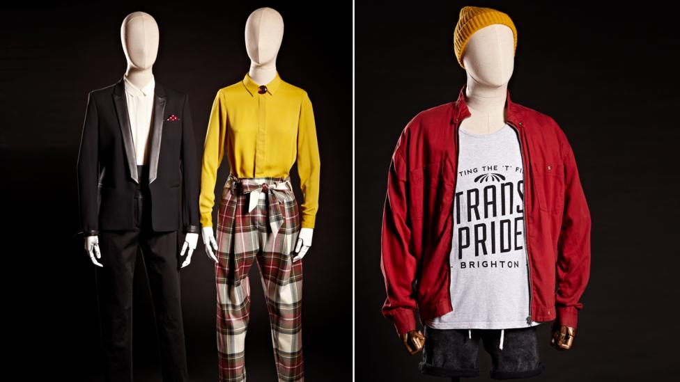 Black tuxedo and Vivienne Westwood tartan pantaloons, 2015; right, outfit worn for Trans Pride 2015, donated by Fox Fisher (Credit: Brighton Museum & Gallery)